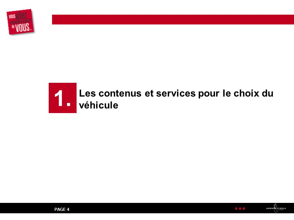 PAGE 4 Les contenus et services pour le choix du véhicule 1.
