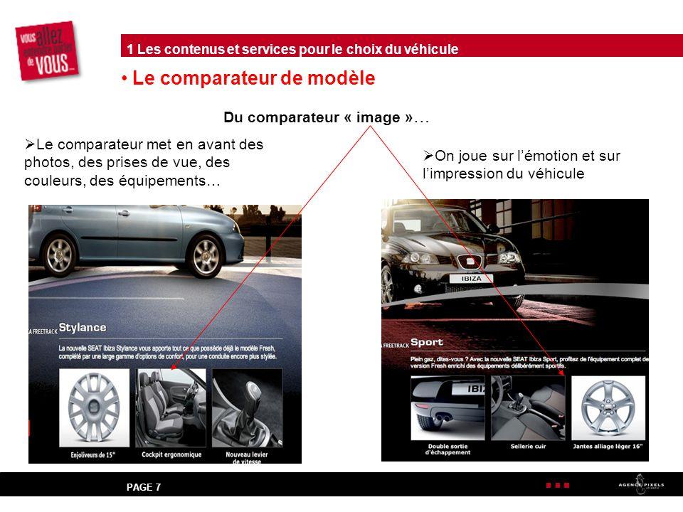 PAGE 7 Le comparateur de modèle Du comparateur « image » … Le comparateur met en avant des photos, des prises de vue, des couleurs, des équipements… On joue sur lémotion et sur limpression du véhicule 1 Les contenus et services pour le choix du véhicule