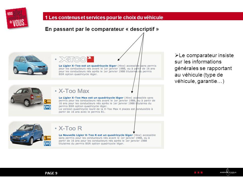 PAGE 9 En passant par le comparateur « descriptif » Le comparateur insiste sur les informations générales se rapportant au véhicule (type de véhicule, garantie…) 1 Les contenus et services pour le choix du véhicule