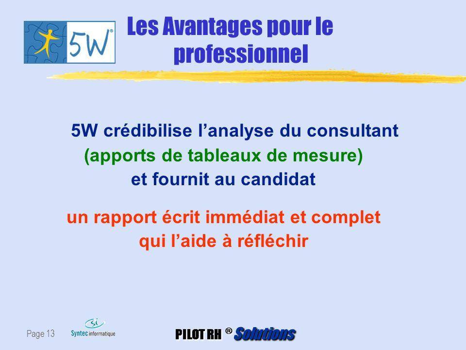 PILOT RH ® Solutions Page 13 5W crédibilise lanalyse du consultant (apports de tableaux de mesure) et fournit au candidat un rapport écrit immédiat et