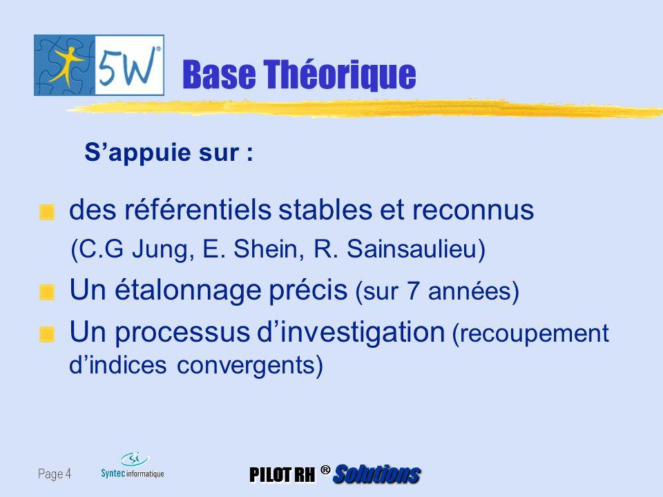 PILOT RH ® Solutions Page 4 Base Théorique des référentiels stables et reconnus (C.G Jung, E. Shein, R. Sainsaulieu) Un étalonnage précis (sur 7 année