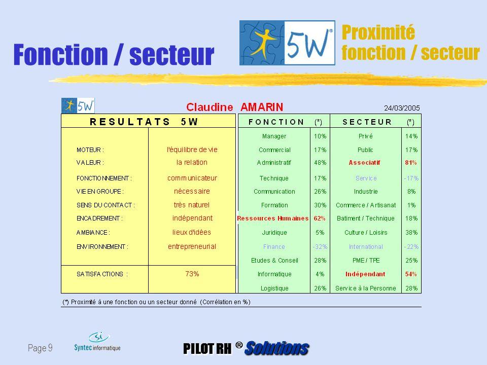 PILOT RH ® Solutions Page 9 Fonction / secteur Proximité fonction / secteur