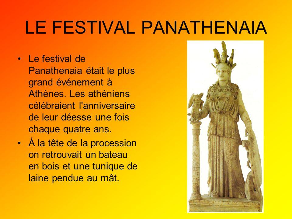 Au temple la tunique était placée par- dessus la statue dAthéna pour 4 ans.