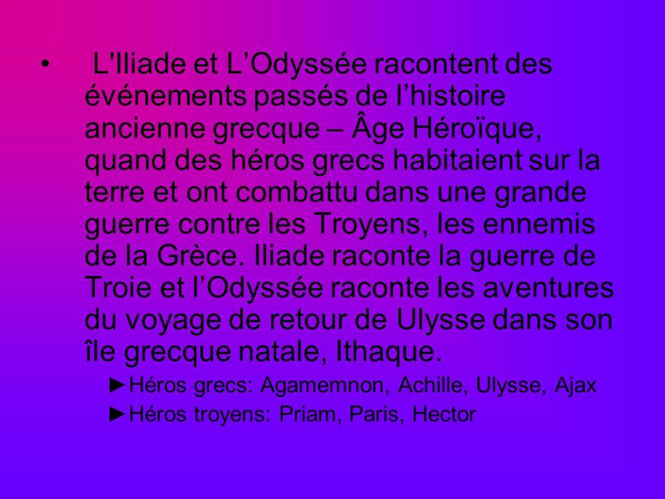 L'Iliade et LOdyssée racontent des événements passés de lhistoire ancienne grecque – Âge Héroïque, quand des héros grecs habitaient sur la terre et on