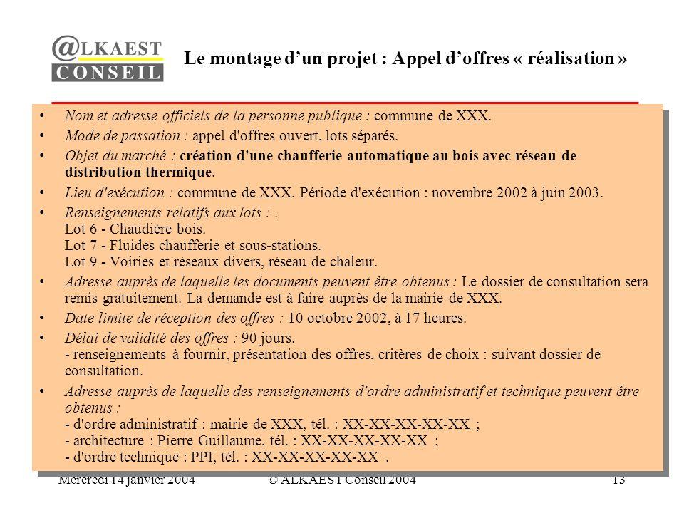 Mercredi 14 janvier 2004© ALKAEST Conseil 200413 Le montage dun projet : Appel doffres « réalisation » Nom et adresse officiels de la personne publique : commune de XXX.