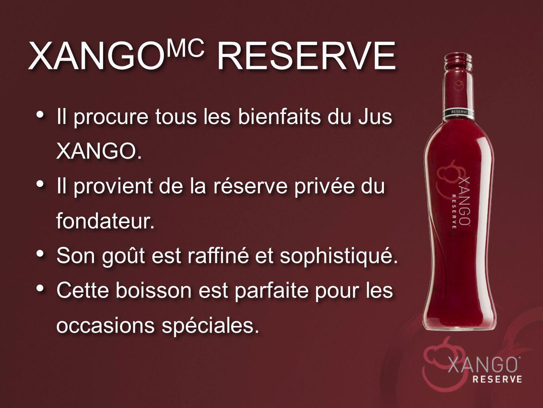 Il procure tous les bienfaits du Jus XANGO. Il provient de la réserve privée du fondateur. Son goût est raffiné et sophistiqué. Cette boisson est parf