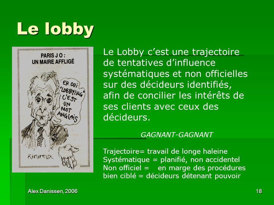 Alex Danissen, 200618 Le lobby Le Lobby cest une trajectoire de tentatives dinfluence systématiques et non officielles sur des décideurs identifiés, a