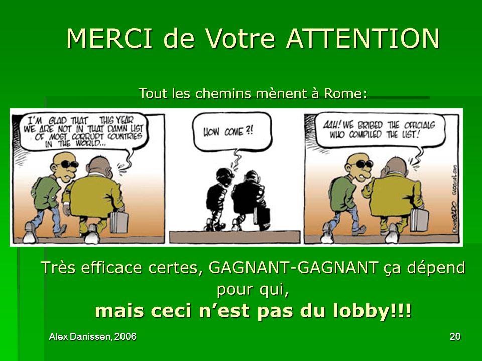 Alex Danissen, 200620 Très efficace certes, GAGNANT-GAGNANT ça dépend pour qui, mais ceci nest pas du lobby!!! MERCI de Votre ATTENTION Tout les chemi
