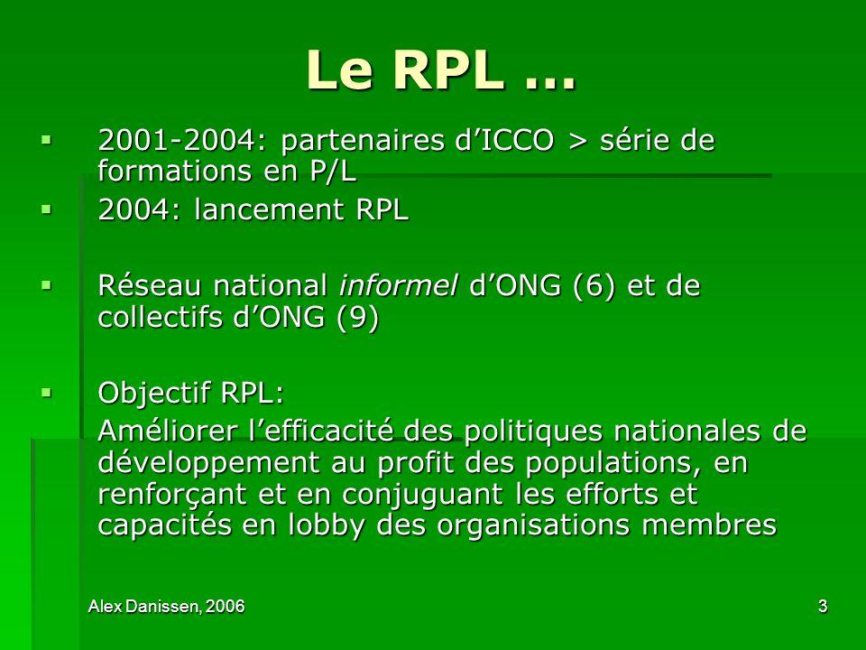 Alex Danissen, 20063 Le RPL … 2001-2004: partenaires dICCO > série de formations en P/L 2001-2004: partenaires dICCO > série de formations en P/L 2004