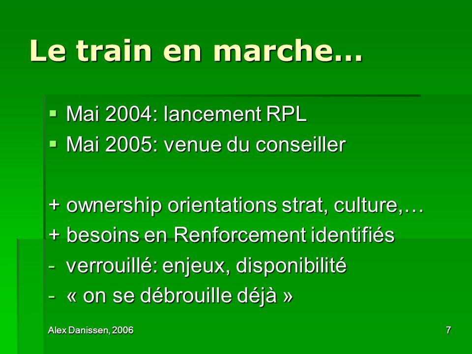 Alex Danissen, 20067 Le train en marche… Mai 2004: lancement RPL Mai 2004: lancement RPL Mai 2005: venue du conseiller Mai 2005: venue du conseiller +