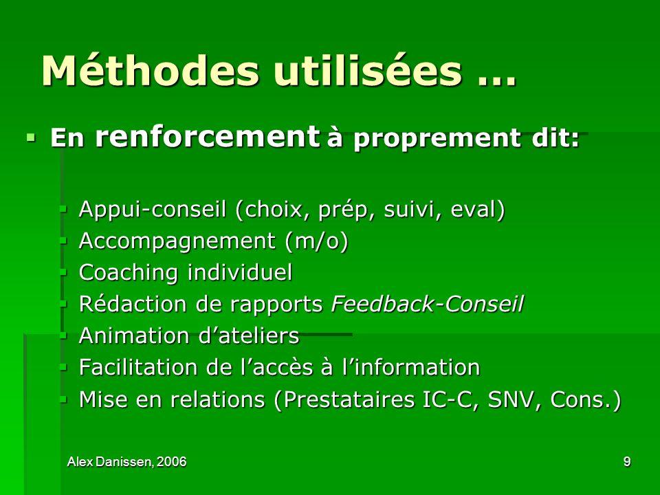 Alex Danissen, 20069 Méthodes utilisées … En renforcement à proprement dit: En renforcement à proprement dit: Appui-conseil (choix, prép, suivi, eval)