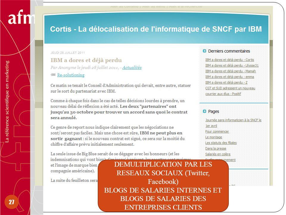 27 DEMULTIPLICATION PAR LES RESEAUX SOCIAUX (Twitter, Facebook) BLOGS DE SALARIES INTERNES ET BLOGS DE SALARIES DES ENTREPRISES CLIENTS