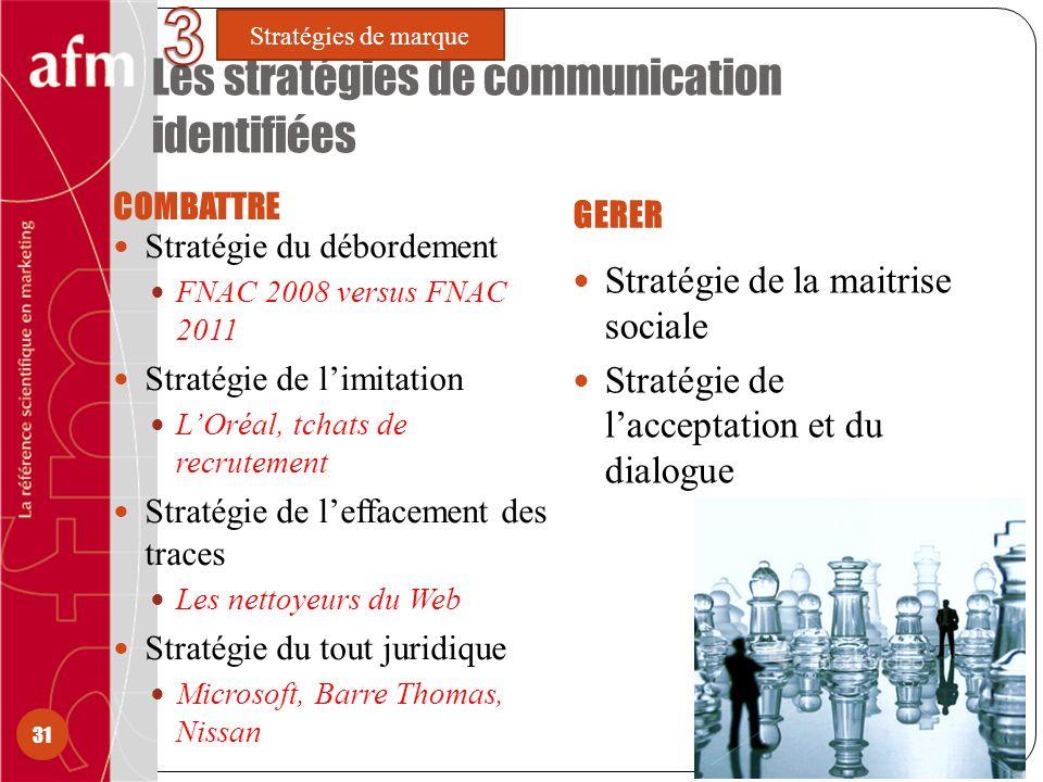 Les stratégies de communication identifiées COMBATTRE GERER Stratégie du débordement FNAC 2008 versus FNAC 2011 Stratégie de limitation LOréal, tchats de recrutement Stratégie de leffacement des traces Les nettoyeurs du Web Stratégie du tout juridique Microsoft, Barre Thomas, Nissan Stratégie de la maitrise sociale Stratégie de lacceptation et du dialogue 31 Stratégies de marque
