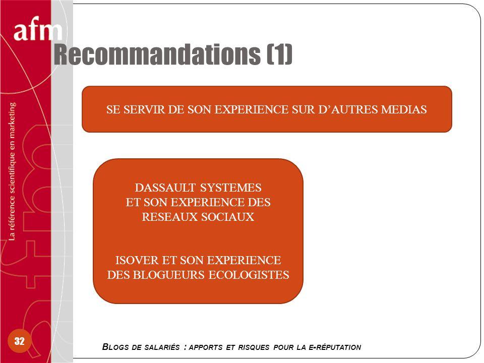 Recommandations (1) B LOGS DE SALARIÉS : APPORTS ET RISQUES POUR LA E - RÉPUTATION 32 SE SERVIR DE SON EXPERIENCE SUR DAUTRES MEDIAS DASSAULT SYSTEMES ET SON EXPERIENCE DES RESEAUX SOCIAUX ISOVER ET SON EXPERIENCE DES BLOGUEURS ECOLOGISTES