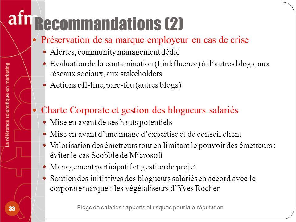 Recommandations (2) Préservation de sa marque employeur en cas de crise Alertes, community management dédié Evaluation de la contamination (Linkfluenc