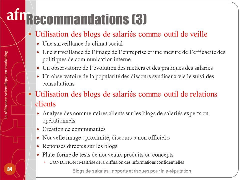 Recommandations (3) Utilisation des blogs de salariés comme outil de veille Une surveillance du climat social Une surveillance de limage de lentrepris