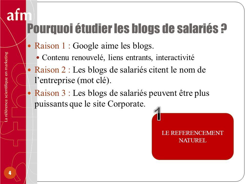 Pourquoi étudier les blogs de salariés ? 4 Raison 1 : Google aime les blogs. Contenu renouvelé, liens entrants, interactivité Raison 2 : Les blogs de
