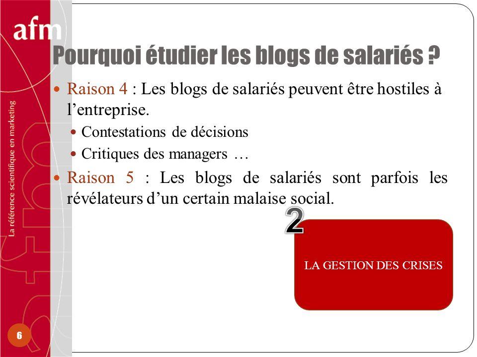 Pourquoi étudier les blogs de salariés ? 6 Raison 4 : Les blogs de salariés peuvent être hostiles à lentreprise. Contestations de décisions Critiques