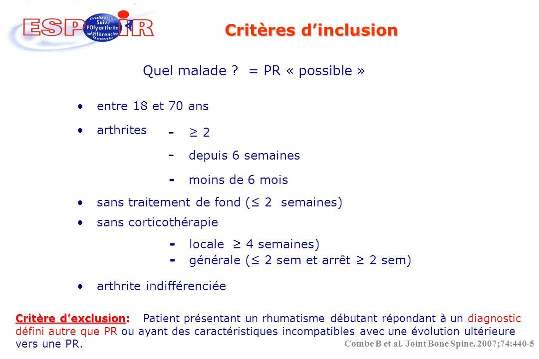 2002-2005 814 inclusions confirmées 813 patients dans la base 14 centres cliniques (16 CHU) X Rhumatologues libéraux 1 centre de coordination 1 CRB, 1 centre radiographique 1 conseil scientifique, Qualité des données Gel de la base J0 : novembre 2005 Combe B et al.