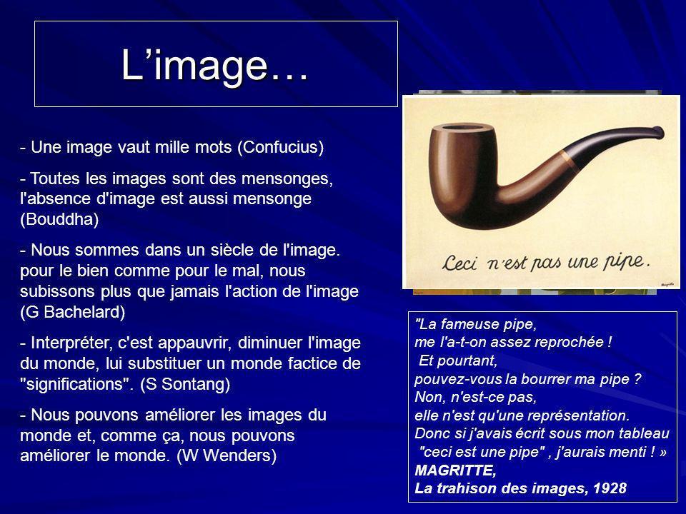Limage… - Une image vaut mille mots (Confucius) - Toutes les images sont des mensonges, l'absence d'image est aussi mensonge (Bouddha) - Nous sommes d