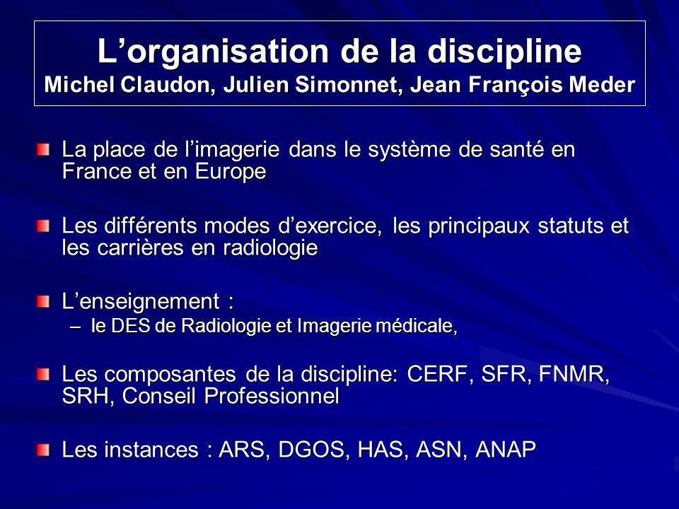 Lorganisation de la discipline Michel Claudon, Julien Simonnet, Jean François Meder La place de limagerie dans le système de santé en France et en Eur
