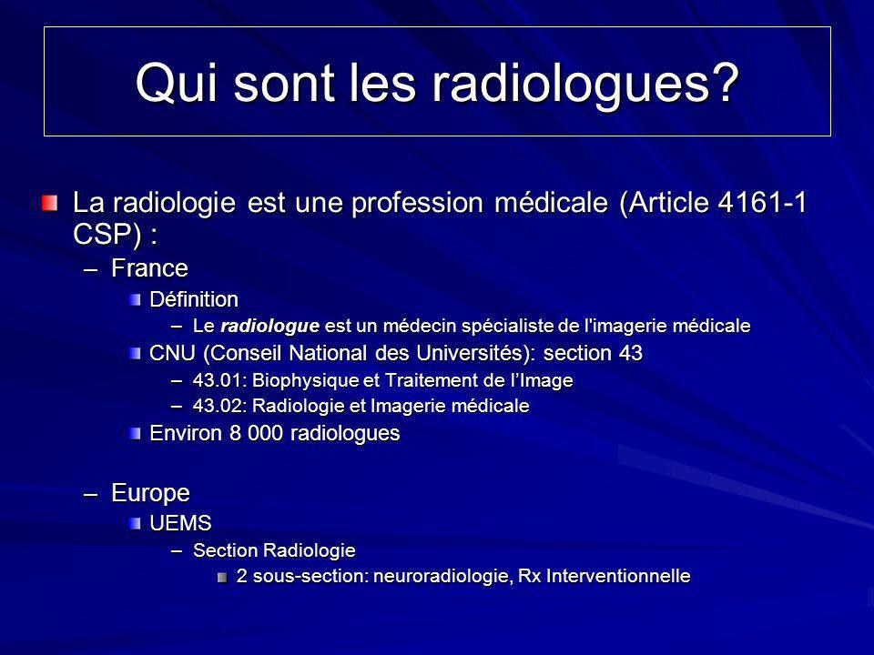 Qui sont les radiologues? La radiologie est une profession médicale (Article 4161-1 CSP) : –France Définition –Le radiologue est un médecin spécialist