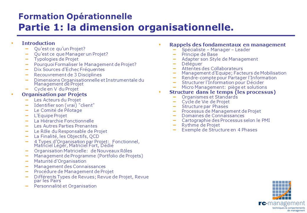 Formation Opérationnelle Partie 1: la dimension organisationnelle. Introduction – Quest ce quun Projet? – Quest ce que Manager un Projet? – Typologies