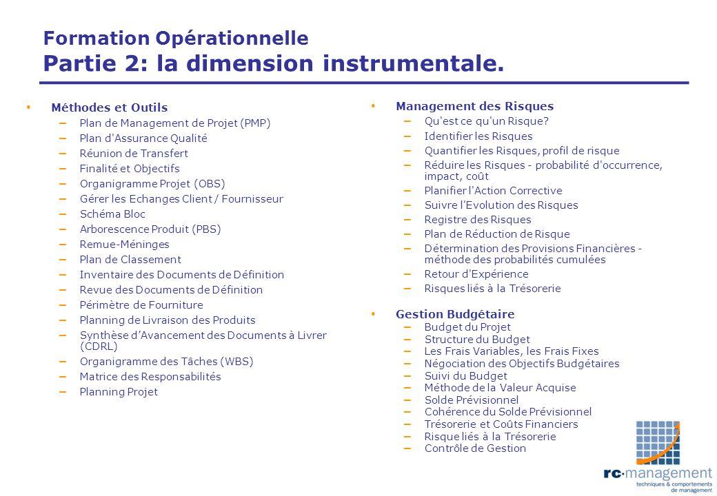 Formation Opérationnelle Partie 2: la dimension instrumentale. Méthodes et Outils – Plan de Management de Projet (PMP) – Plan d'Assurance Qualité – Ré
