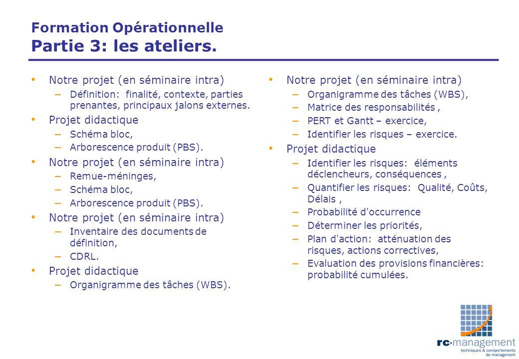 Formation Opérationnelle Partie 3: les ateliers. Notre projet (en séminaire intra) – Définition: finalité, contexte, parties prenantes, principaux jal