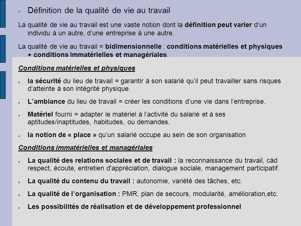 Définition de la qualité de vie au travail La qualité de vie au travail est une vaste notion dont la définition peut varier dun individu à un autre, d