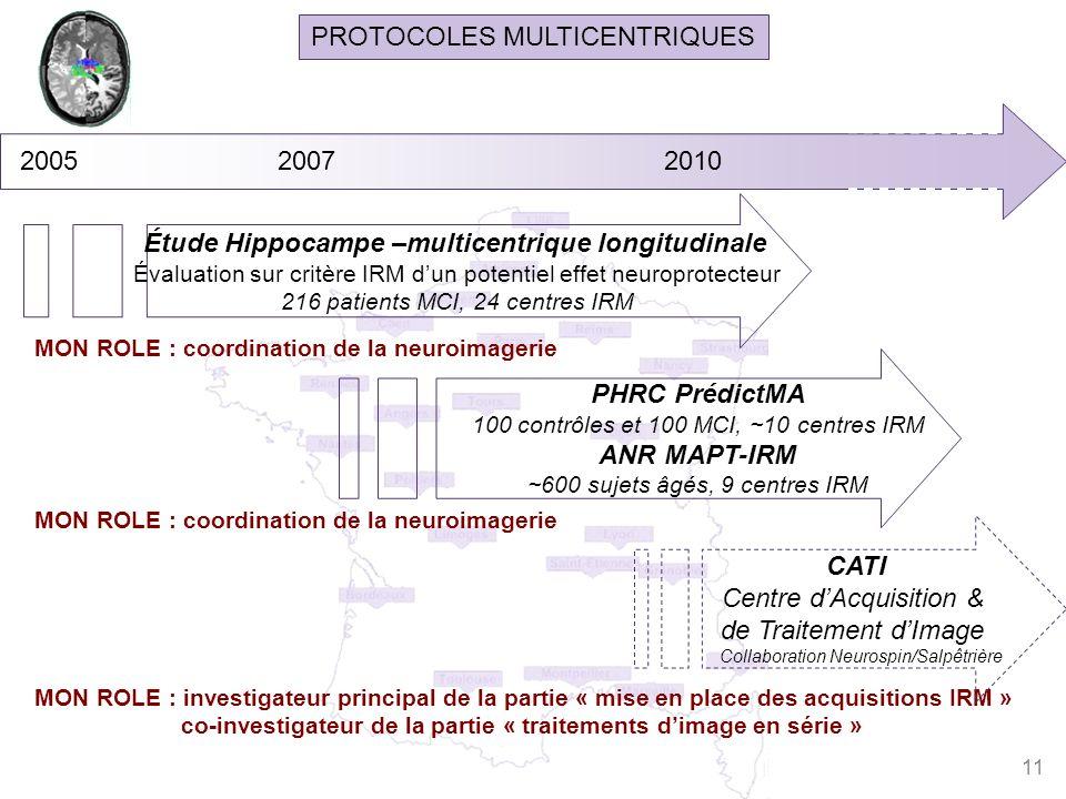 PROTOCOLES MULTICENTRIQUES MON ROLE : investigateur principal de la partie « mise en place des acquisitions IRM » co-investigateur de la partie « trai