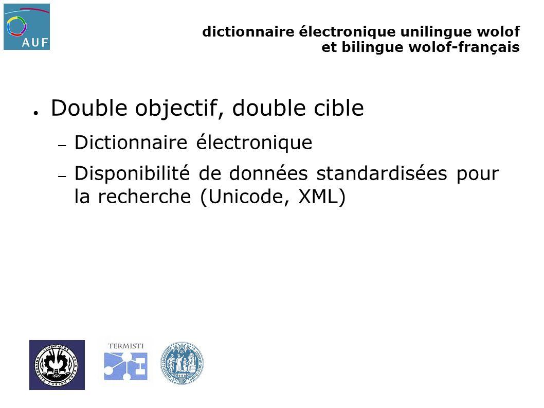dictionnaire électronique unilingue wolof et bilingue wolof-français Double objectif, double cible – Dictionnaire électronique – Disponibilité de donn