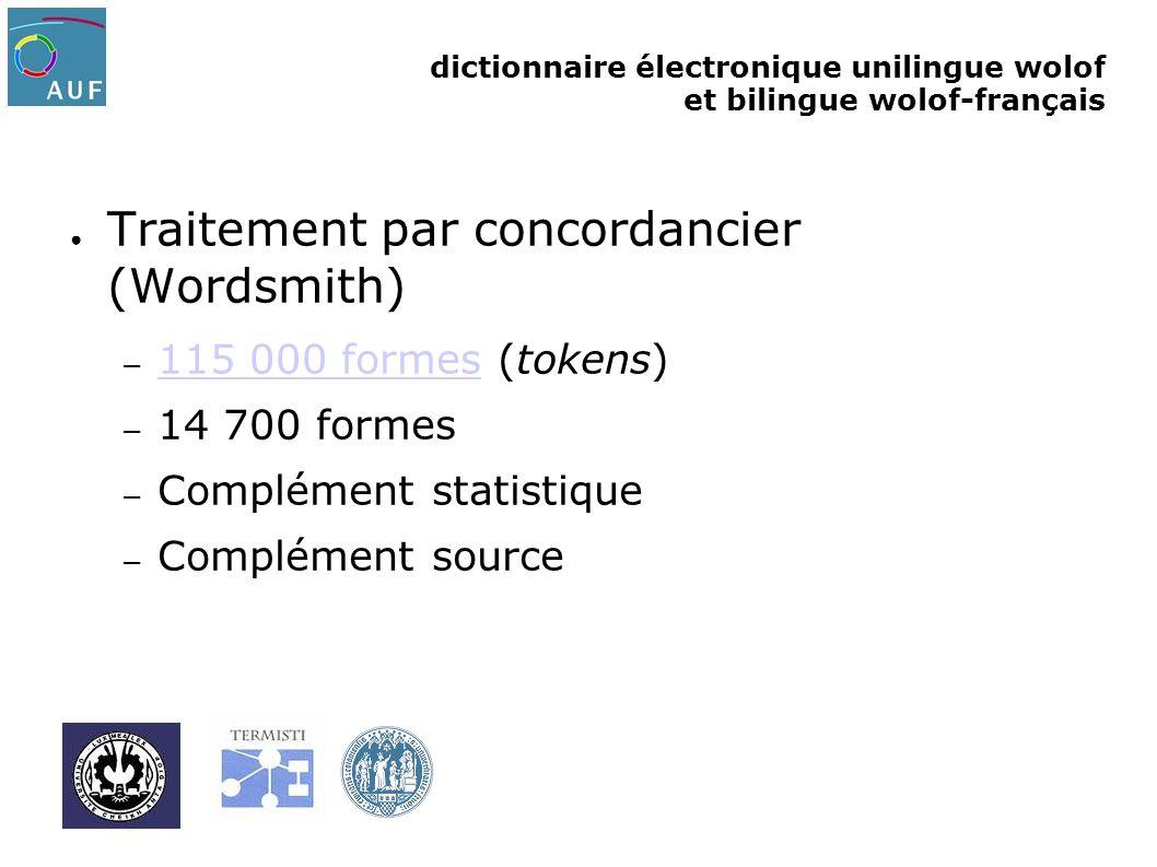dictionnaire électronique unilingue wolof et bilingue wolof-français Traitement par concordancier (Wordsmith) – 115 000 formes (tokens) 115 000 formes