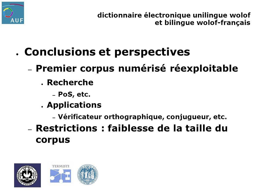 dictionnaire électronique unilingue wolof et bilingue wolof-français Conclusions et perspectives – Premier corpus numérisé réexploitable Recherche – P