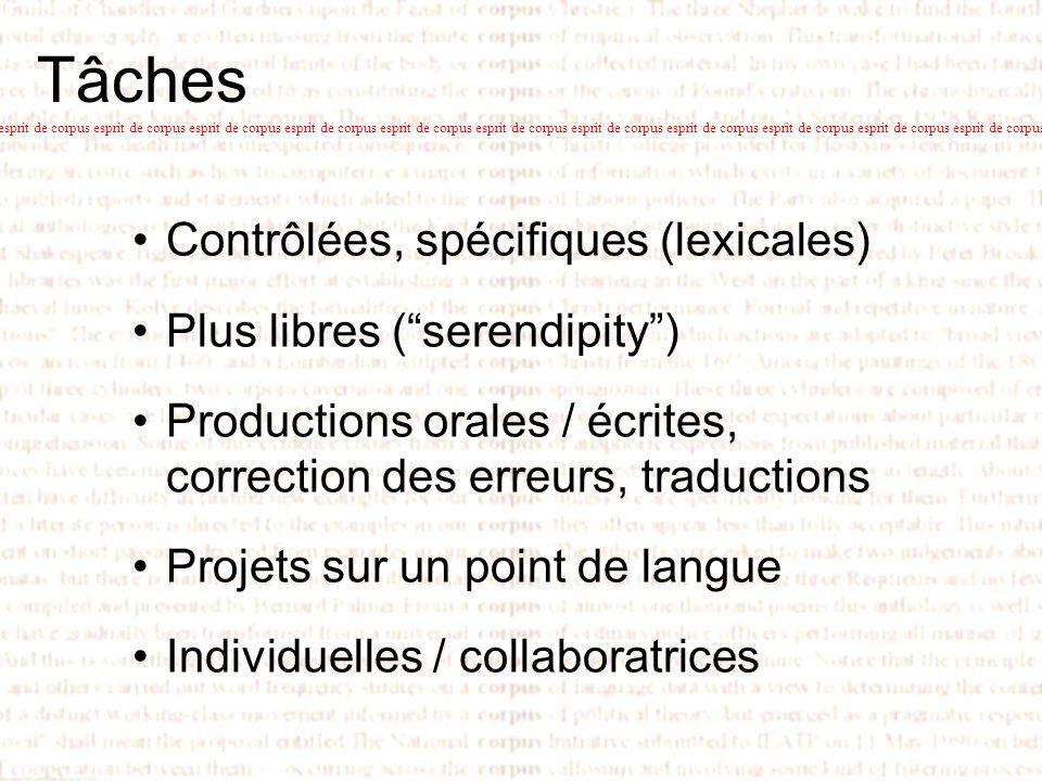 Tâches Contrôlées, spécifiques (lexicales) Plus libres (serendipity) Productions orales / écrites, correction des erreurs, traductions Projets sur un