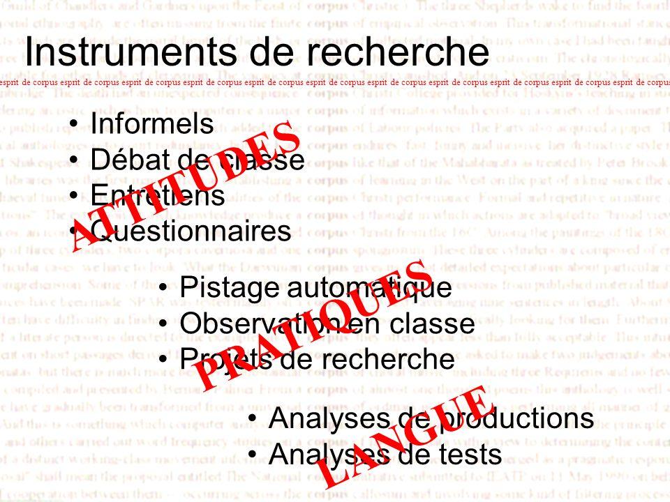 Instruments de recherche Informels Débat de classe Entretiens Questionnaires esprit de corpus esprit de corpus esprit de corpus esprit de corpus espri