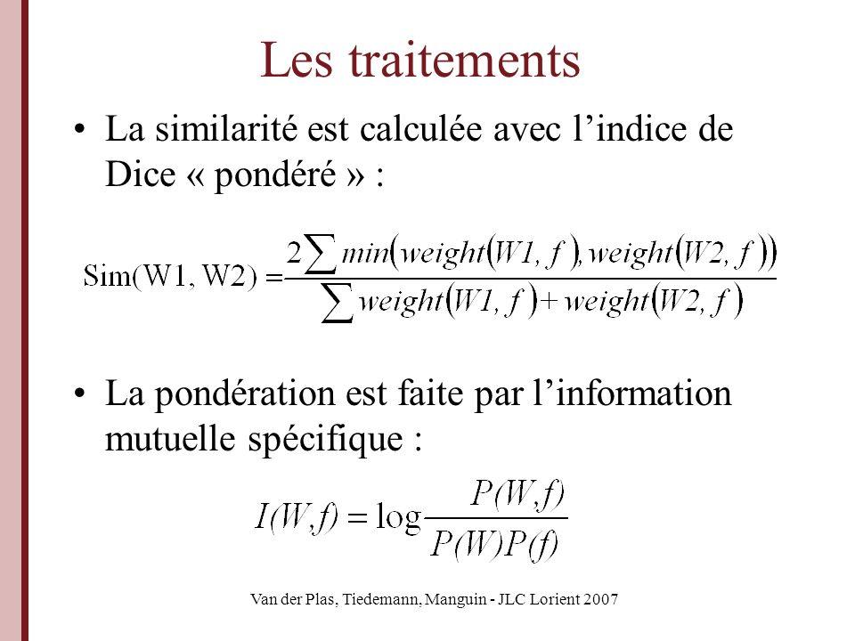 Van der Plas, Tiedemann, Manguin - JLC Lorient 2007 Les traitements La similarité est calculée avec lindice de Dice « pondéré » : La pondération est f