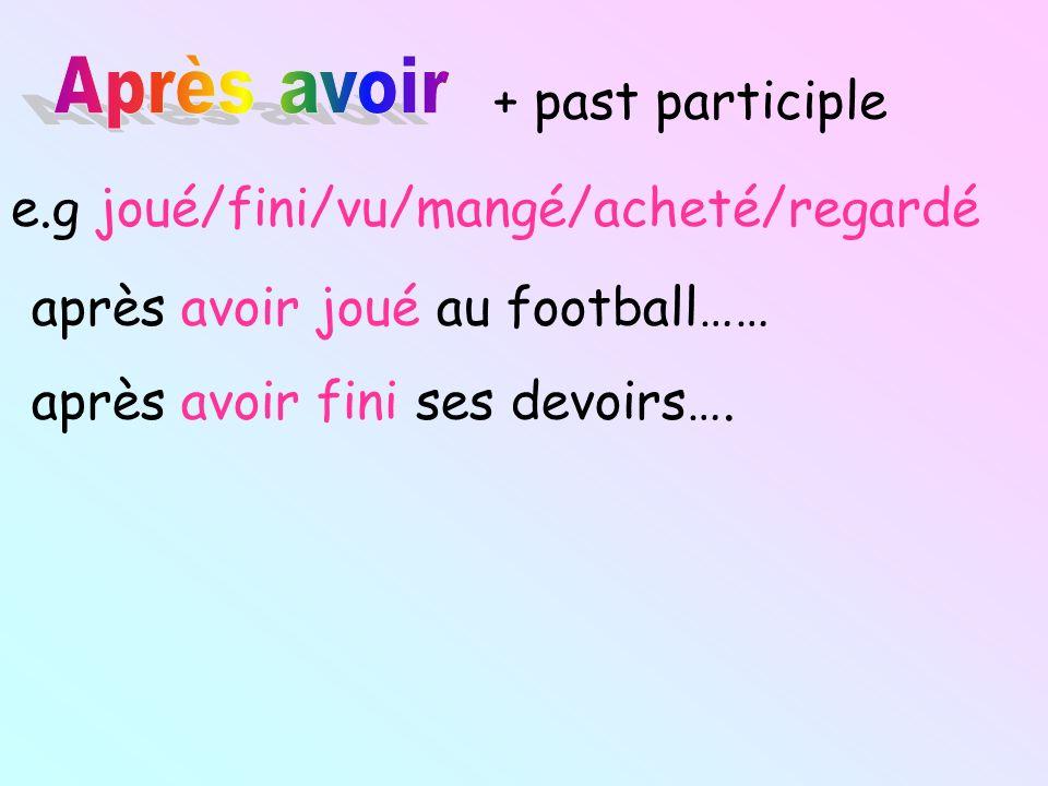 + past participle e.g joué/fini/vu/mangé/acheté/regardé après avoir joué au football…… après avoir fini ses devoirs….