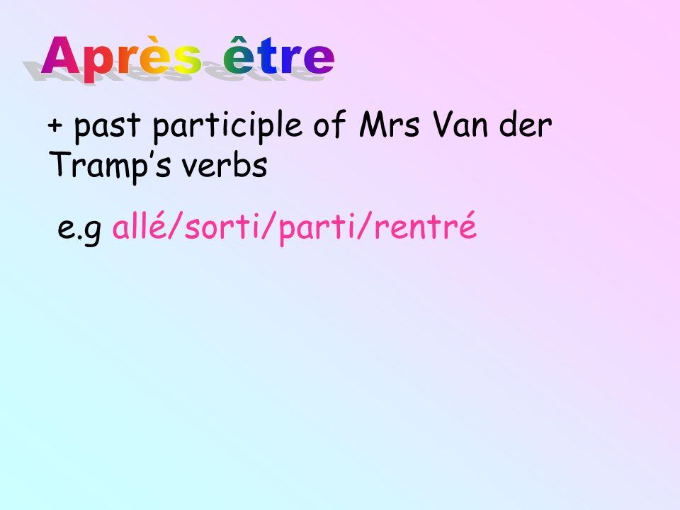 + past participle of Mrs Van der Tramps verbs e.g allé/sorti/parti/rentré