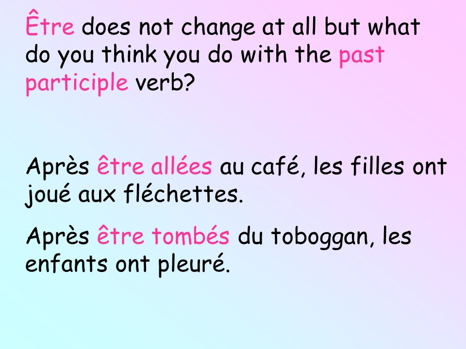 Être does not change at all but what do you think you do with the past participle verb? Après être allées au café, les filles ont joué aux fléchettes.