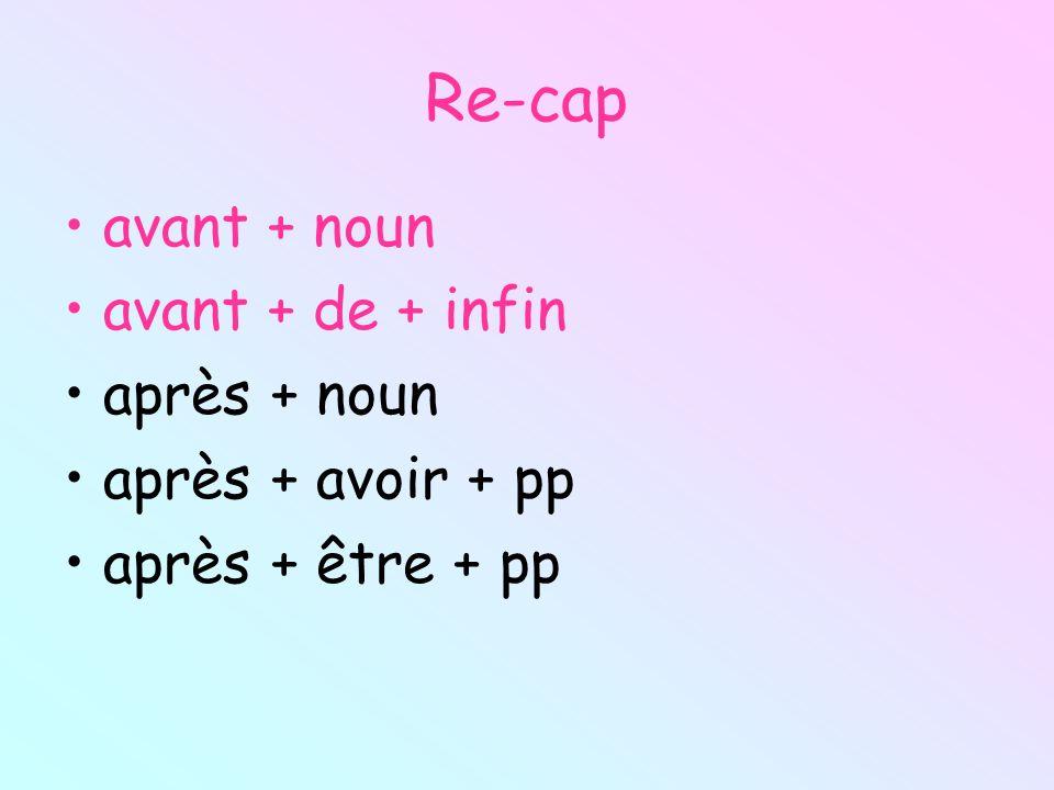 Re-cap avant + noun avant + de + infin après + noun après + avoir + pp après + être + pp
