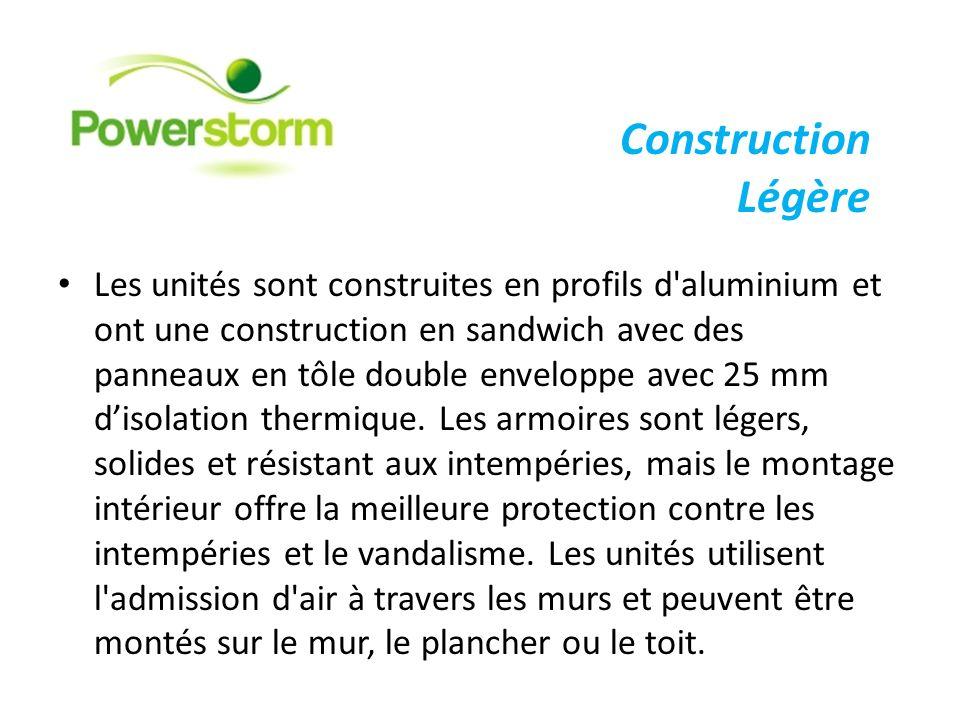 Les unités sont construites en profils d'aluminium et ont une construction en sandwich avec des panneaux en tôle double enveloppe avec 25 mm disolatio