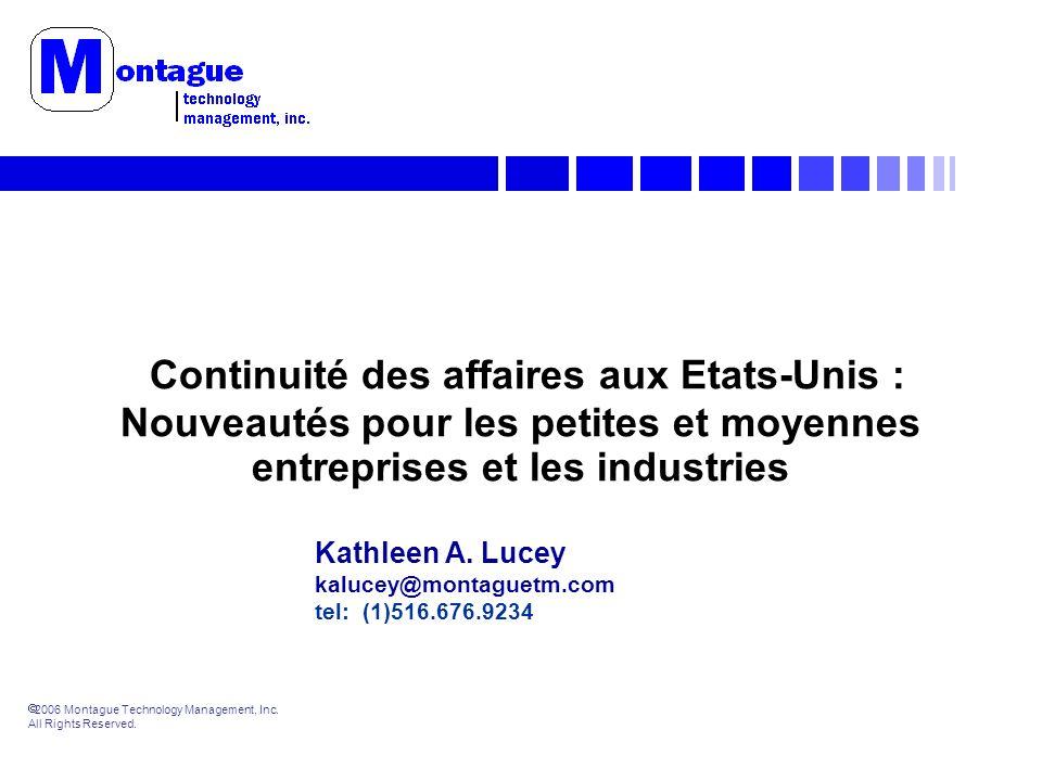 2006 Montague Technology Management, Inc. All Rights Reserved. Continuité des affaires aux Etats-Unis : Nouveautés pour les petites et moyennes entrep