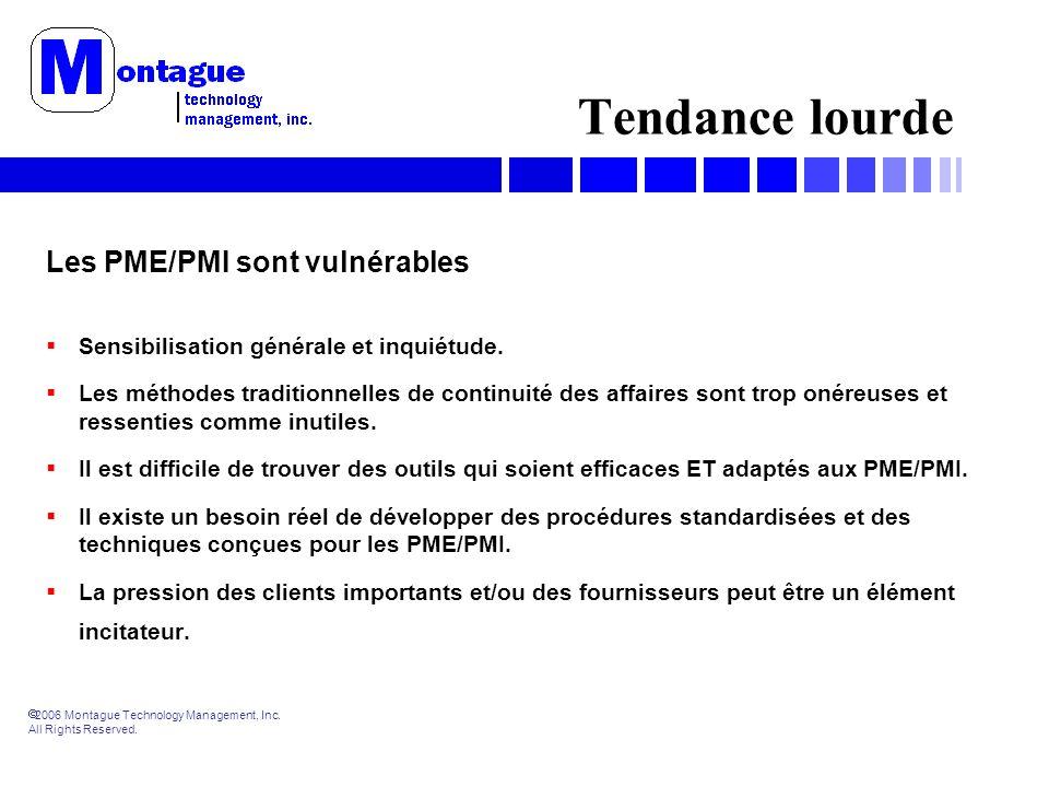 2006 Montague Technology Management, Inc. All Rights Reserved. Tendance lourde Les PME/PMI sont vulnérables Sensibilisation générale et inquiétude. Le