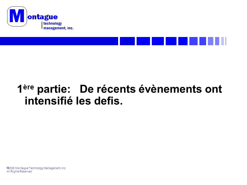 2006 Montague Technology Management, Inc. All Rights Reserved. 1 ère partie: De récents évènements ont intensifié les defis.