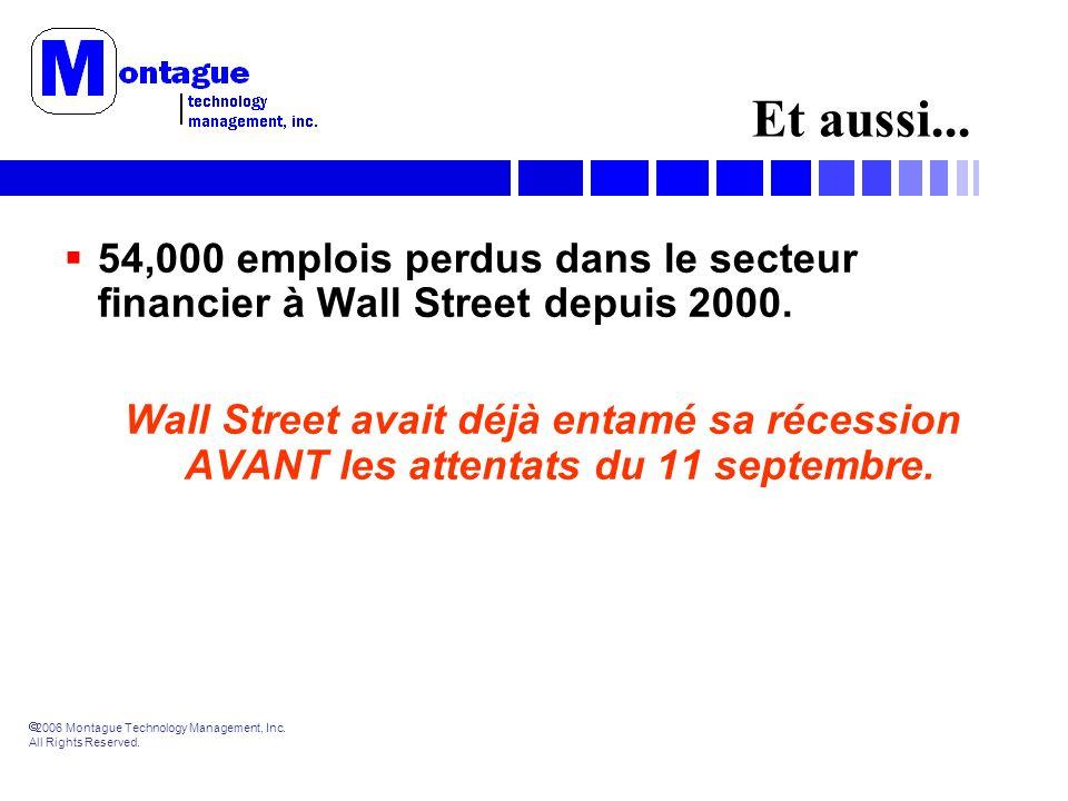 2006 Montague Technology Management, Inc. All Rights Reserved. Et aussi... 54,000 emplois perdus dans le secteur financier à Wall Street depuis 2000.