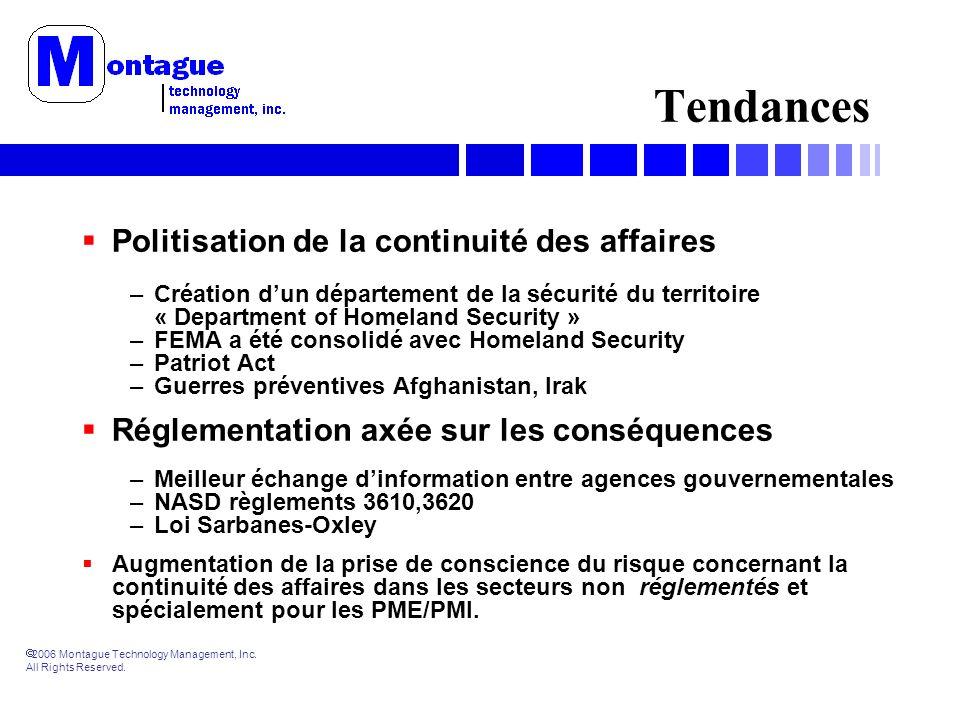 2006 Montague Technology Management, Inc. All Rights Reserved. Tendances Politisation de la continuité des affaires –Création dun département de la sé
