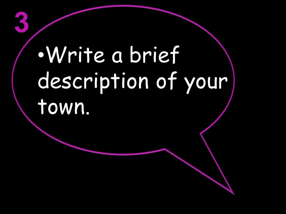 Write a brief description of your town. 3
