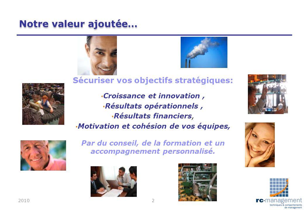 Notre valeur ajoutée… Sécuriser vos objectifs stratégiques: Croissance et innovation, Résultats opérationnels, Résultats financiers, Motivation et coh