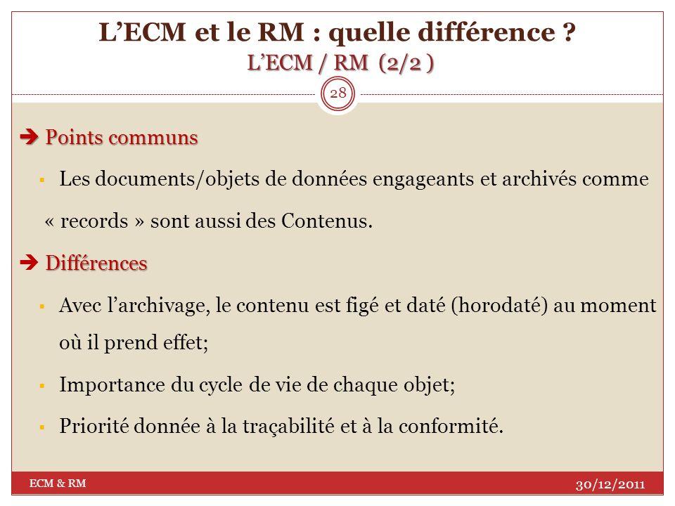 LECM / RM (1/2) LECM et le RM : quelle différence ? LECM / RM (1/2) 27 30/12/2011 ECM & RM